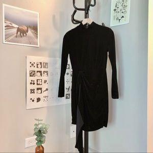Black Velvet High Neck Bodycon Dress